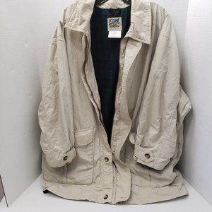 Vintage TravelSmith Mens Jacket Tan Plaid Zip